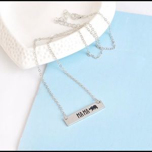 Mama Bear Necklace Silver